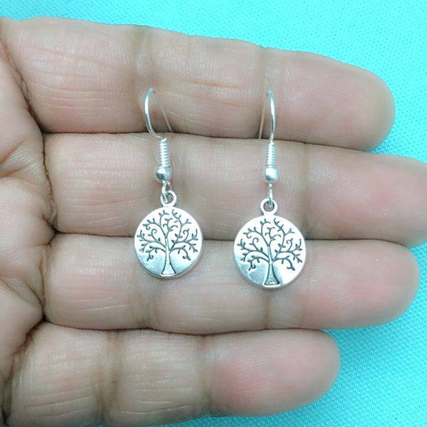 Beautiful Small TREE of LIFE Silver Dangle Earrings.