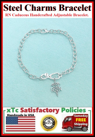 Handmade RN Caduceus Adjustable Stainless Steel Bracelet.