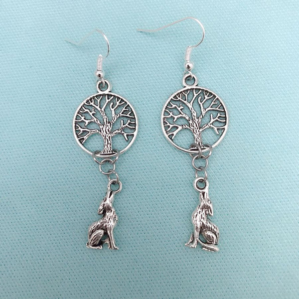 Teen Wolf; Tree of Life & Full Moon Howling Wolf Earrings.