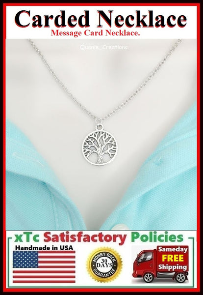 Divine Gift; Handcrafted Silver Tree of Life Charm Necklace.