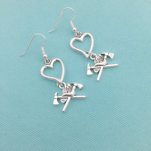 Heart & Axes FIREFIGHTERS Heart Silver Dangle Earrings.