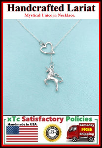 I Love the Unicorn Handcrafted Necklace Lariat Style.