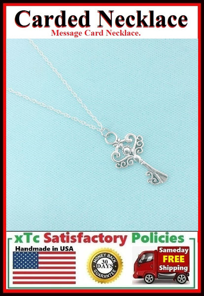 Motivational Gift; Handcrafted Master Key Silver Charm Necklace.