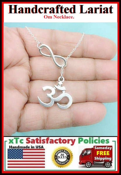 INDIAN OM Yoga Symbol Charm Lariat Necklace.