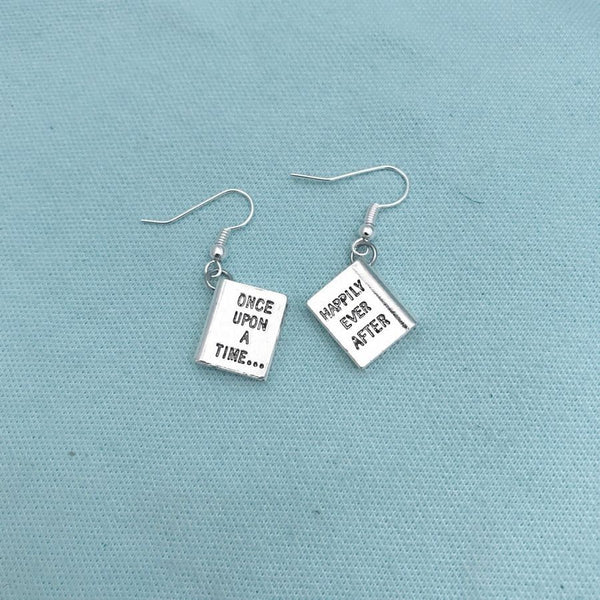 """Once Upon a Time"" Book Silver Charms Dangle Earrings."
