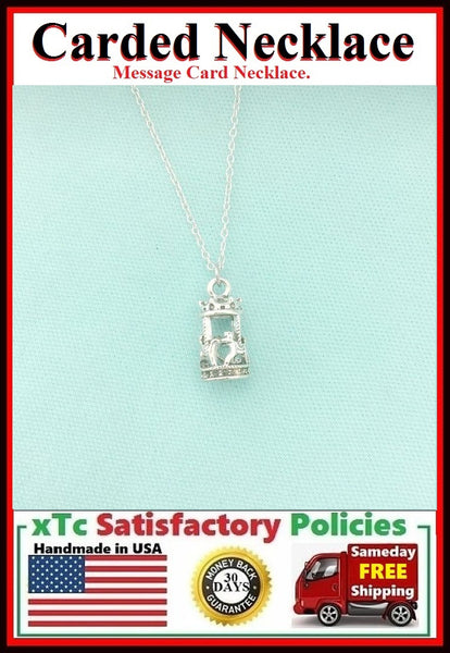 Motivational Gift; Handmade Silver 3D Carousel Charm Necklace.
