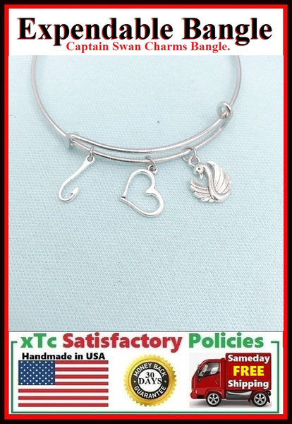 Gorgeous CAPTAIN SWAN Related Charms Bangle Bracelet.
