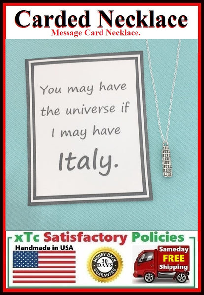 Italian Gift; Handcrafted Tower of Pisa Silver Charm Necklace.