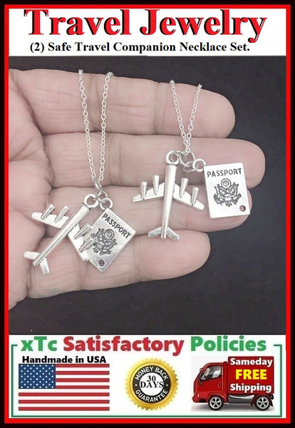 BF Sets : (2) Safe Travel Companion Charms Necklaces Set.