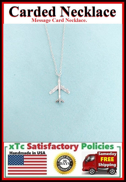 Travel Gift; Handcrafted Silver Airplane Charm Necklace.