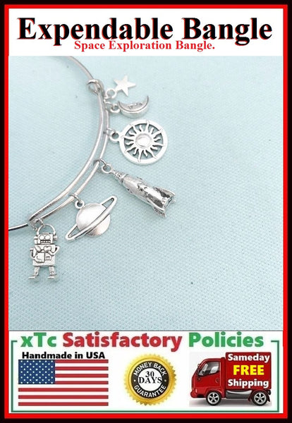 SPACE Exploration Related Charms Expendable Bangle Bracelet.