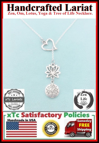Gorgeous LOTUS and TREE of LIFE  Lariat Style Necklace.