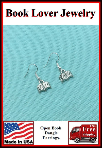 Beautiful OPEN BOOK Silver Charms Dangle Earrings.