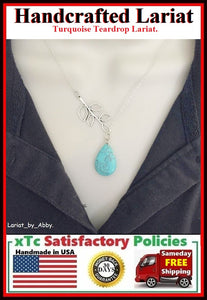Natural Turquoise Teardrop Silver Handcrafted Necklace Lariat Style.