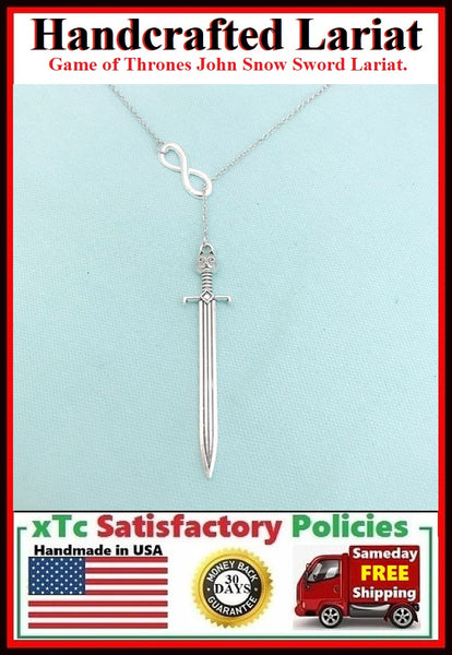 Beautiful Long (GOT) Sword & Infinity Handcrafted Necklace Lariat Style.