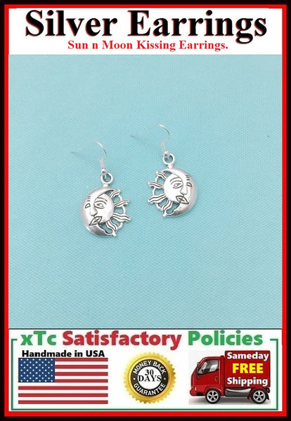 Sun n Moon Kissing Dangle Silver Earrings.