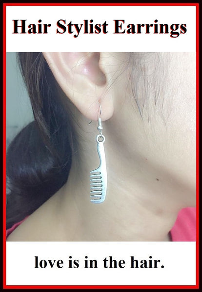 Hair Stylist Handcraft Large Hair Comb Charm Dangle Earrings.