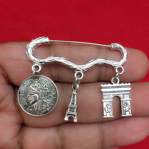 Easy on/off Brooch with French Coin, Eiffel Tower & French Arch Charms,