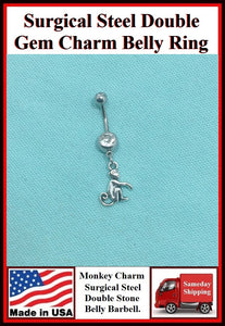 MONKEY with CURLED TAIL Silver Charm Surgical Steel Belly Ring.