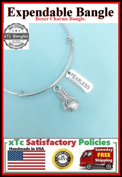 Boxing Glove and Fearless Charms Bangle Bracelet.