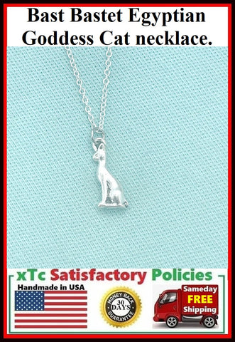 3D Bast Bastet Egyptian Goddess Cat Silver Necklace.