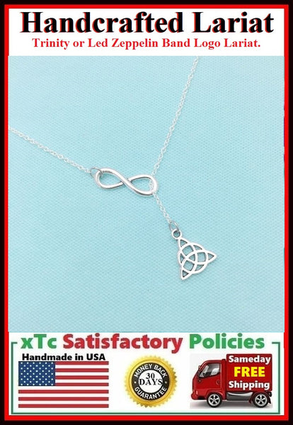 Irish Trinity or Led Zeppelin Logo Lariat Style Necklace.