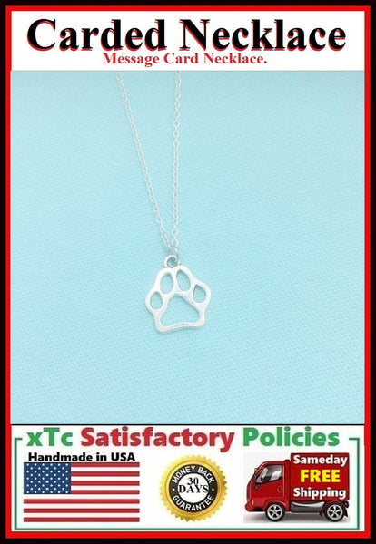 Animal Lover Gift; Handmade Silver Paw Print Charm Necklace.