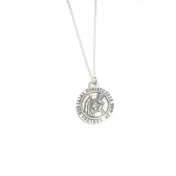 Saint Christopher Protect me Silver Tone Charm Necklace.