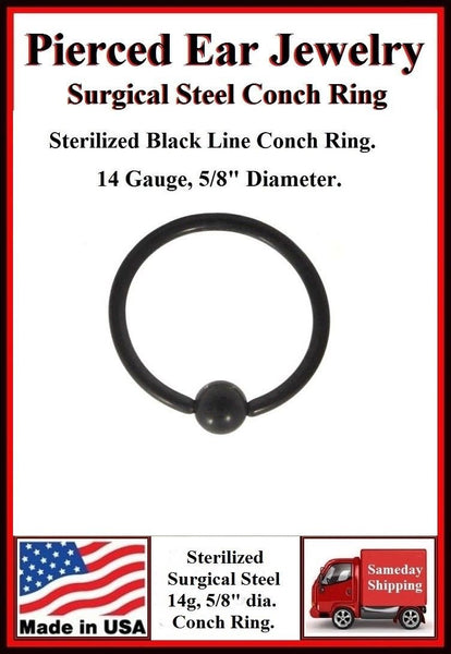 Titanium anodized Black Sterilized Surgical Steel CONCH Ring.