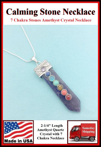 "Amethyst 2-1/4"" Crystal 7 Chakra Stones Necklace for Calming."