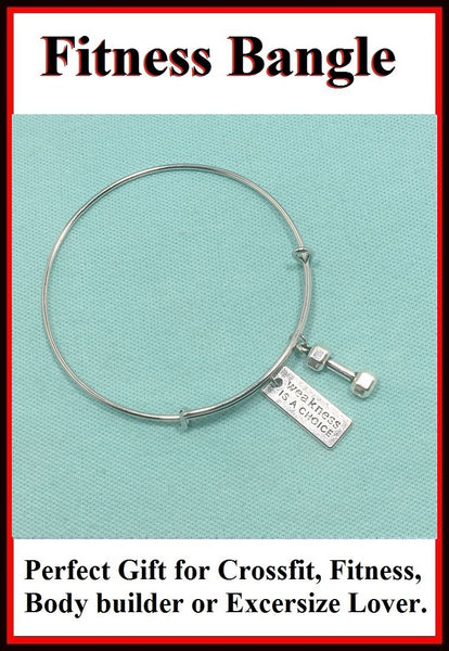 Beautiful Handcraft Excersize Crossfit Charms Expendable Charm Bangle.