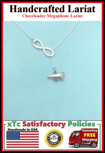 Beautiful Cheerleader Megaphone Silver Charms Y Lariat Necklace.