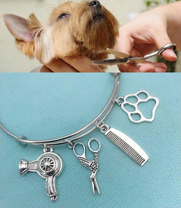 Dog Groomer Charms Silver Adjustable Bangle Bracelet.