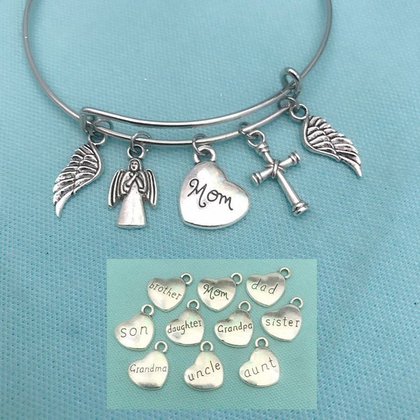 Family Member Memorial Silver Charms Bangle Bracelet