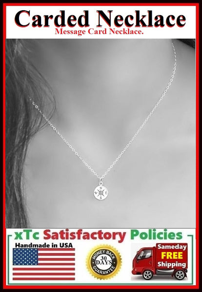 BFF Gift;  Silver COMPASS Charm Necklace.