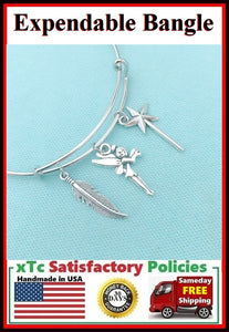 Gorgeous TINKER BELL Inspiration Related Charms Bangle Bracelet.