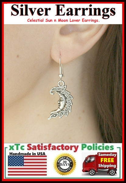 Romantic Celestial Sun n Moon Lover's Pair  Silver Earrings.