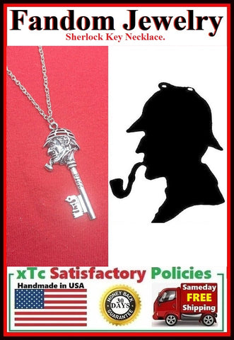Sherlock Key Charm Silver Necklaces.