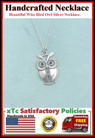 Handcrafted Beautiful Silver Wise Bird Owl Charm Necklace.
