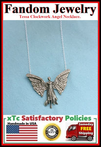 City of Bones inspired Tessa Clockwork Angel Necklace.
