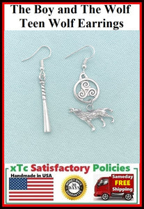 The Boy and The Wolf Charms Silver Fandom Earrings.