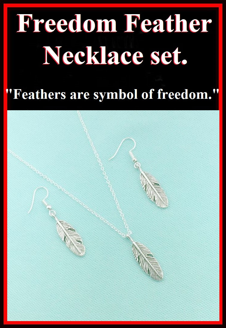 Beautiful Handcrafted Feather Charm Silver Necklace Set.