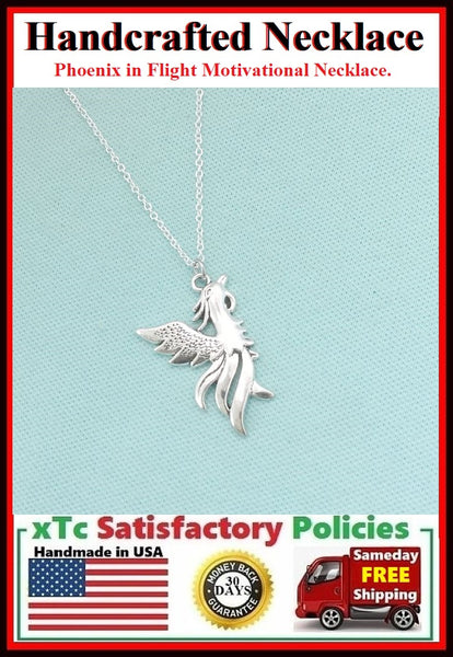Handcrafted Phoenix in Flight Motivational Charm Necklace.