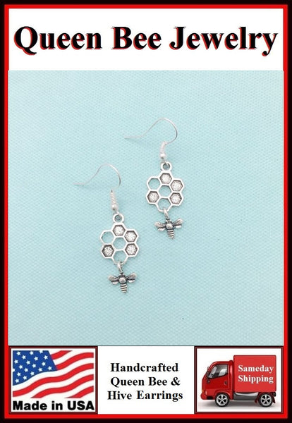 Beautiful QUEEN BEE and  HIVE Silver Dangle Earrings.