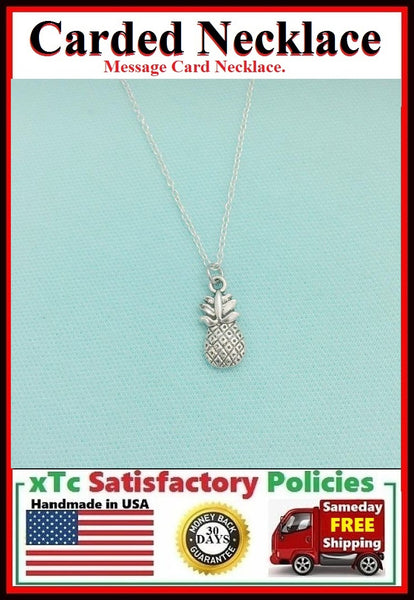 Welcome Gift; Handcrafted Pineapple Silver Charm Necklace.