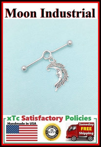 Beautiful Crescent Moon Charm Surgical Steel Industrial.