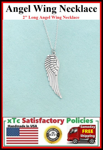 "Handcrafted Beautiful Silver 2"" ANGEL WING Charm Necklace."