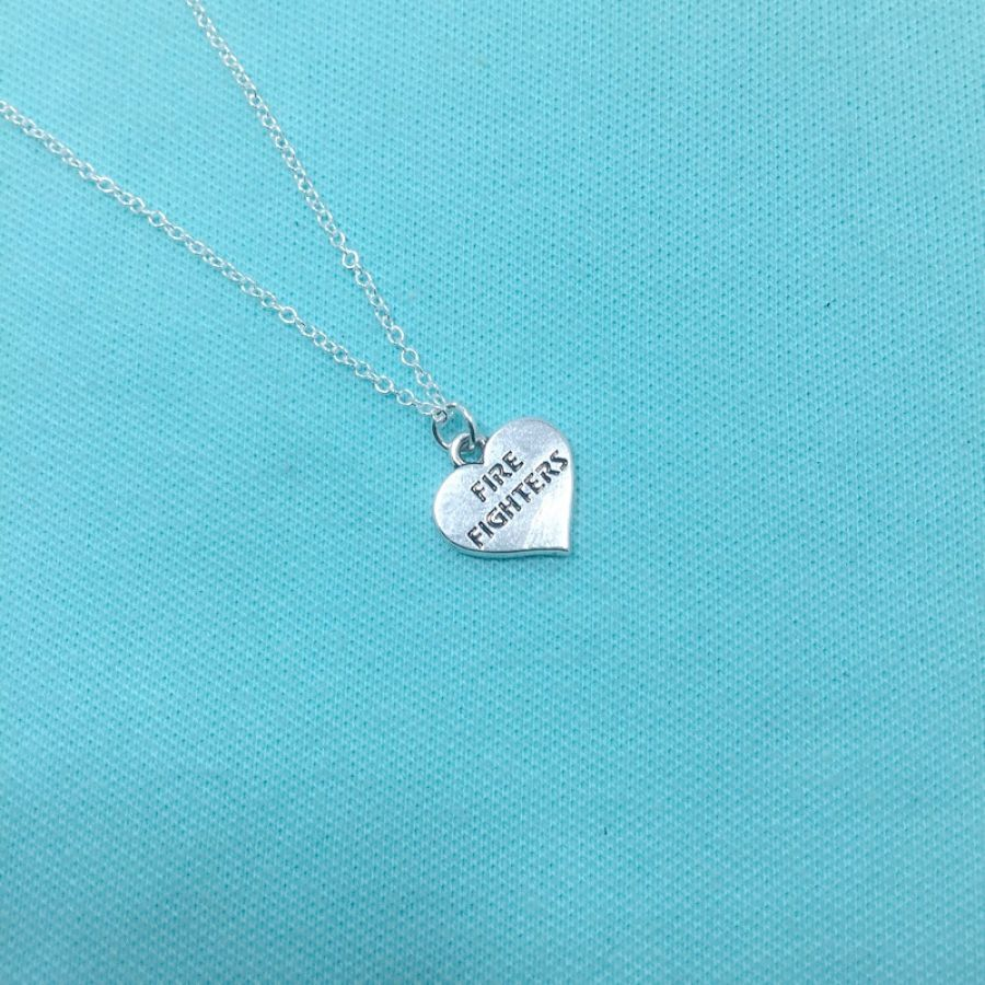 Firefighter Heart Charm Silver Chain Necklace.