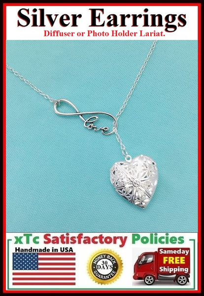 Photo Holder or Oil Diffuser Necklace Lariat Style.