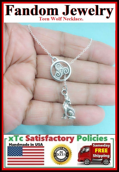 Beautiful TRISKELION Disk & HOWLING WOLF Handcrafted Necklace Lariat Style.